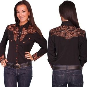 Scully Floral Embroidered Women's Western Shirt